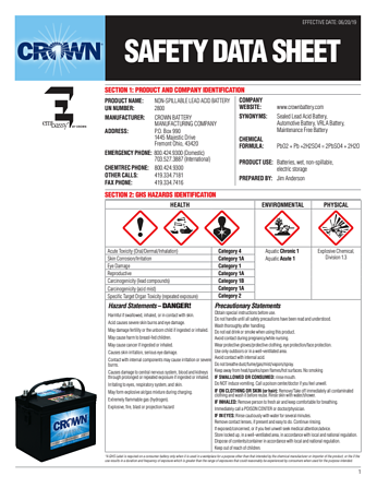 Crown Battery's Safety Data Sheet AGM Batteries
