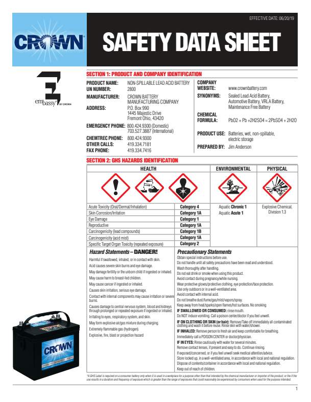 AGM Battery Safety Data Sheet