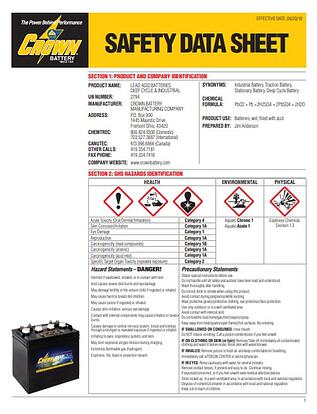 Crown Battery's Safety Data Sheet Deep Cycle Batteries