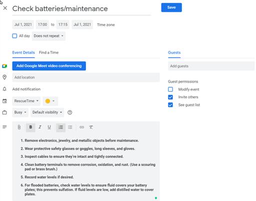 Schedule Maintenance in Google Calendar